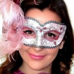 Pink Feather Mask Lisa Silver
