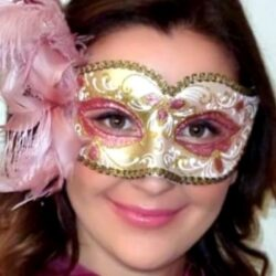 Venetian Pink Feathered Mask