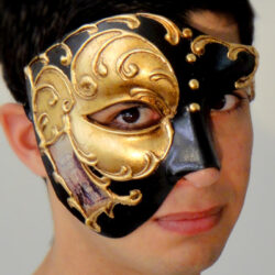 Venetian Phantom Mask with Gold Leaf Made in Venice Italy