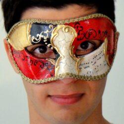 Authentic Venetian Mens Mask Gold