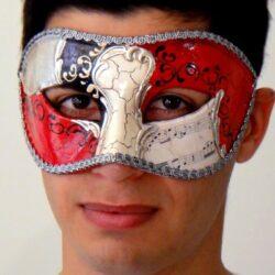 Authentic Venetian Mens Masquerade Mask Silver